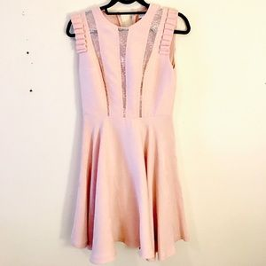 Sandro pink ruffle dress lace details a line